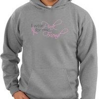 Breast Cancer Awareness Hoodie Sweatshirt Ribbon I Wear Pink For My Friend Adult Athletic Heather