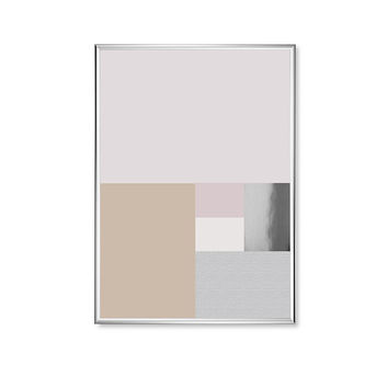 Pastel Rectangles Shapes, Pink Shapes, Geometric Poster, Gold Rectangles Print, Shapes Print, Real Silver Foil, Home Decor, Modern Poster