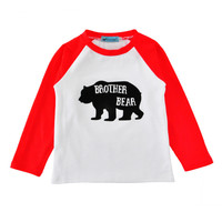 EABoutique Fashion Cartoon Letter Brother Bear printed Cotton boys clothes baby boys tops full sleeve t-shirt