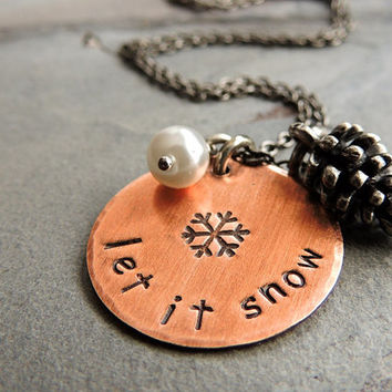 Let It Snow Necklace, Silver Pine Cone, Glass Pearl, Winter Necklace, Copper, Snow, Christmas, Mixed Metal, Nature