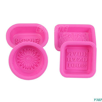 4Pcs Silicone 100% Hand Made Soap Candle Cake Chocolate Mold Craft DIY Mould
