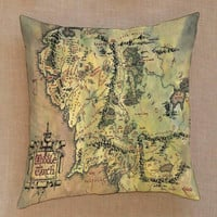 lord of the rings middle earth the hobbit map pillow case one side or two side