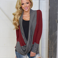 Block Long Sleeve Cross Cardigan