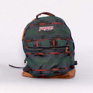 Vintage JANSPORT BACKPACK / Native Blanket Print Canvas & Leather Base School Bag Daypack