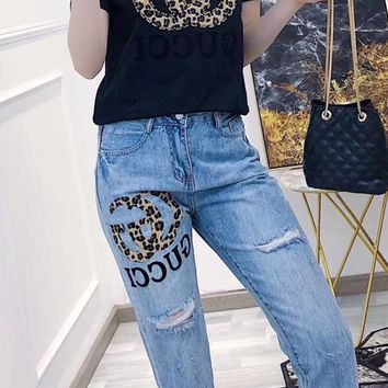 """"""" Gucci"""" Woman Casual  Wild Fashion Letter Printing Short Sleeve Trousers Two-Piece Casual Wear"""
