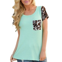 Green Leopard Print Spliced Women T-shirt