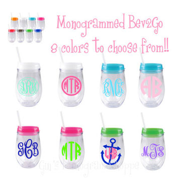 Monogrammed Bev2Go Stemless Wineglasses Double Wall insulated Acrylic with your custom personalization!