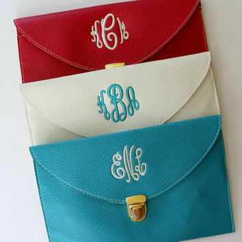Monogram Clutch Purse Red White and Blue Brides, Maid of Honor,  Bridesmaids, Custom Embroidered Gifts