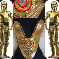 C3PO Deep Plunge LED Star Wars Bra : joker, Rave Wear, Rave, edc, EDC Outfit, Festival Outfit, Rave Outfit, cosplay, halloween