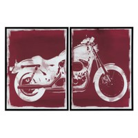 Red Motorcycle - Set of 2 | Planes Trains & Machines | Art Themes | Art | Z Gallerie