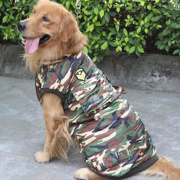 Waterproof Winter Pet Clothes for Large Dogs Cotton-padded Clothing Dog Sport Camouflage Coat Labrador Golden Retriever Apparel