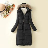 Hooded Fur Button Winter Long Coat