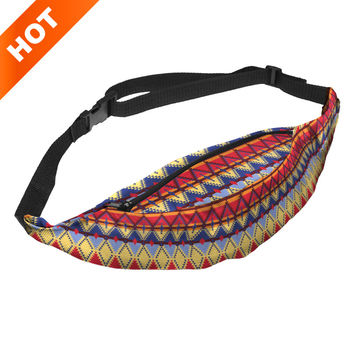 Unisex women men ladies funny 3d printing fanny pack casual polyester waist bag for traveling designer hip leg pack