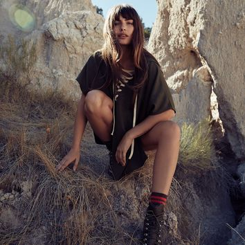 Free People Power Play Hooded Poncho