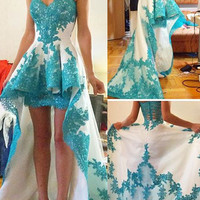 High Low Homecoming Dress,White Homecoming Dresses With Green Applique