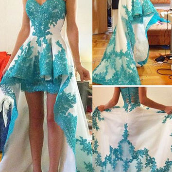 Cecelle 2016 Turquoise Two Toned High Low Homecoming Dresses Sweetheart Appliques Short Front Long Back Prom Cocktail Dresses