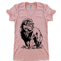 Womens Lion Professor T Shirt tee - American Apparel Tshirt - S M L XL (20 Color Options)