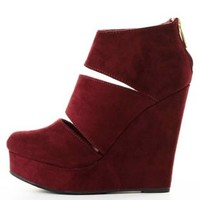 Slit Platform Wedge Booties by Charlotte Russe - Wine