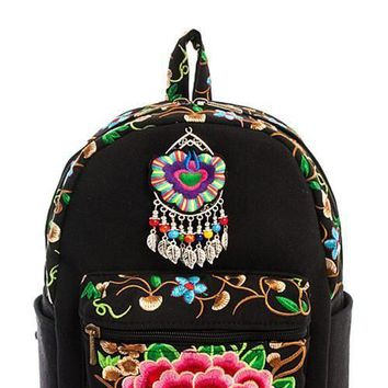 Embroidered Boho Rose Floral Backpack
