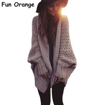 Fun Orange Womens Batwing Knitted Shrug Sweater Women Winter Fashion Tricot Warm Jumper Sweater Oversize Shawl Cardigan Sweaters
