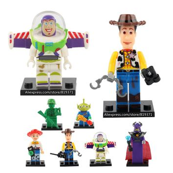 8pcs Toy Story Alien Woody Buzz Lightyear City Jessie Technic Juguetes Blocks Educational Toys Compatible with legoeINGly