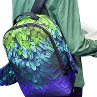 Multicolor Printed Wing Detail Backpack