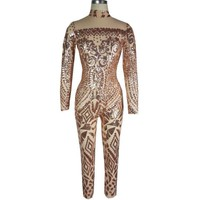 Champagne Sequins Print High Neck Long Sleeve Long Jumpsuit