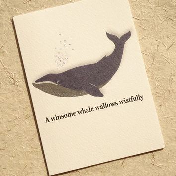 Animal card, winsome whale, beautiful hand-illustrated sea mammal, this animal card features a tongue-twisting alliterative phrase too