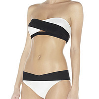 Black And White Strapless Two Piece Swimsuit