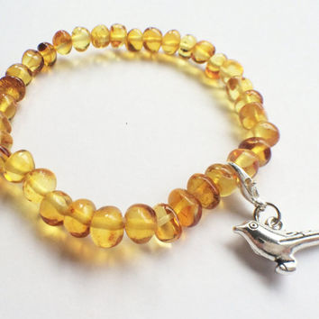 FREE CHRISTMAS PACKAGING Amber beads bracelet with bird charm