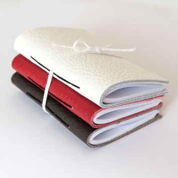 Set of 3 Pocket notebook, leather journal notebook, travel notebook, small tiny cahier, blank pages, hand sewn bound, address book