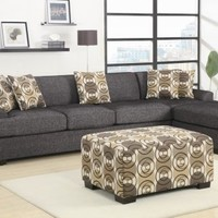 F7447+F7445 - Montreal Ash Black Faux Linen Over-Sized Sectional Sofa - Furniture2Go
