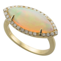 OPAL & DIAMOND RING IN 14K YELLOW GOLD