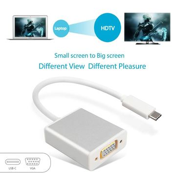ELEGIANT USB 3.1 Type C to VGA Adapter Aerb USB 3.1 Type C Reversible (USB-C) to VGA 1080P Hdtv Adapter Cable for 2015 New Macbook 12 Inch (White)