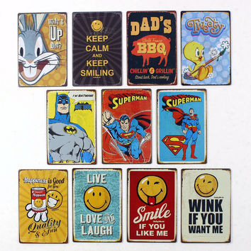 Comic Strip Retro Vintage Pop Art Dads BBQ Whats up Doc Keep Calm Wink Happiness Smiley Tin Metal Wall Decor Poster Signage for Cafe Home Decor 20x30cm