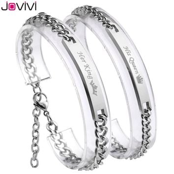 "Newest Jovivi 1-2pc ""Her King+His Queen""Stainless Steel CZ Men Women Couple Curb Bracelet Matching Set Link Chain Wrist Bangles"