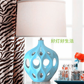 American modern atmosphere hollow ceramic yellow blue living room table lamp bedroom bedside large soft with creative marriage room