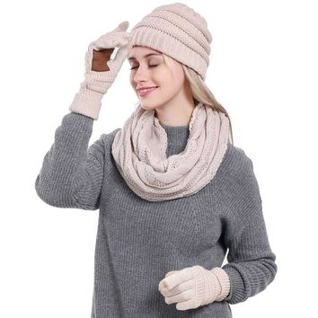 Warm 3 Piece Set Winter Hat, Scarf & Gloves Set For Women