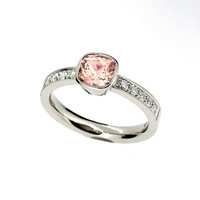 Cushion cut peach morganite ring, engagement ring, diamond engagement, morganite engagement, bezel, solitaire, unique, white, milgrain