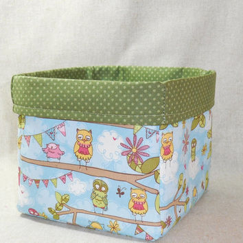 Cute Blue and Green Owl Themed Fabric Basket