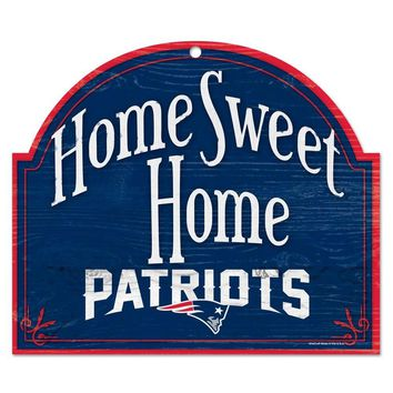 "NEW ENGLAND PATRIOTS HOME SWEET HOME ARCHED WOOD SIGN 10""x11"" BRAND NEW WINCRAFT"
