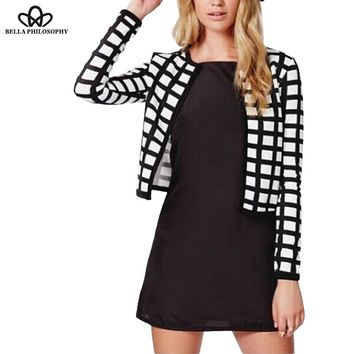 White black check plaid print thin bomber jacket