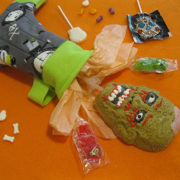 Witch's Sock - Halloween Candy and Treat Stocking - VooDoo Dolls - Gray & Green Holiday Stocking
