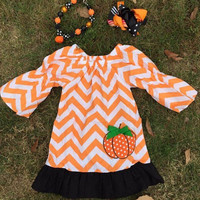 Girls Pumpkin Dress, Chevron Pumpkin Dress, Toddler Girl Fall Dress, Pumpkin Patch Girls Outfit, Halloween Chevron Dress, Embroidered Dress