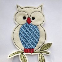 Iron On Patch Applique Blue Bellied Owl