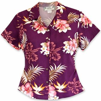 Passion Purple Lady's Hawaiian Rayon Blouse
