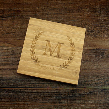 Personalized Coaster Set, Monogrammed Coasters with Laurel Design and Wedding Date, Custom Wood Coasters, Housewarming Gift, Wedding Gift