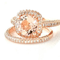 14K Rose Gold Morganite Wedding Set Diamond Halo Morganite Engagement Ring 18K Platinum Bridal Jewelry