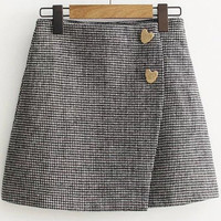 Heart Button Wrap Skirt