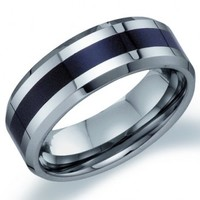 Mens Tungsten Wedding Band Engagement Ring Black Stripe Comfort Fit | Jewel Tie